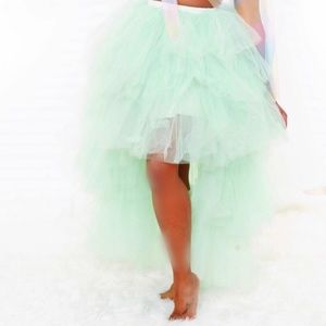 Mint Green tulle layered skirt